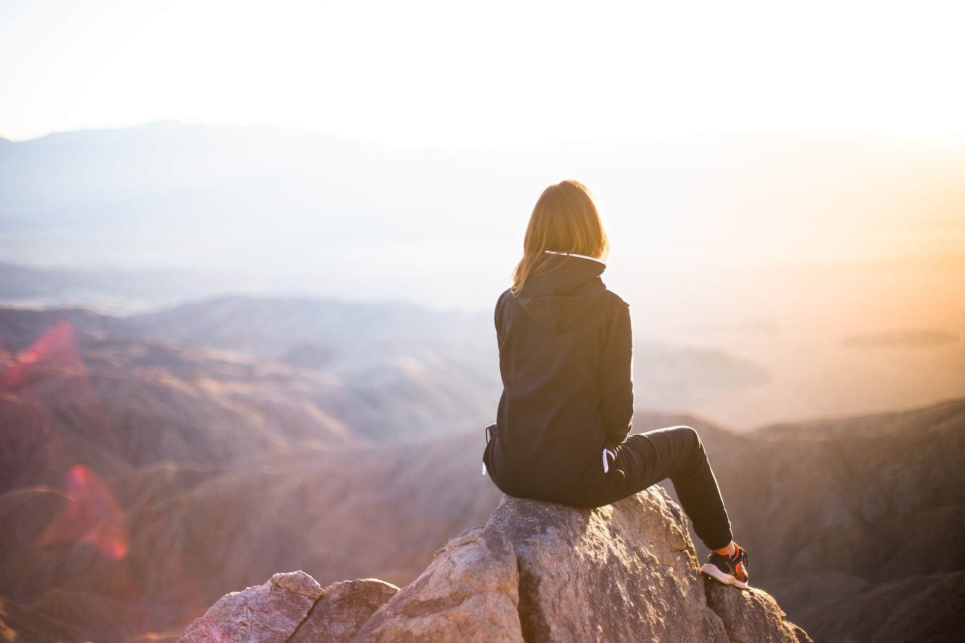 Girl on a mountain image